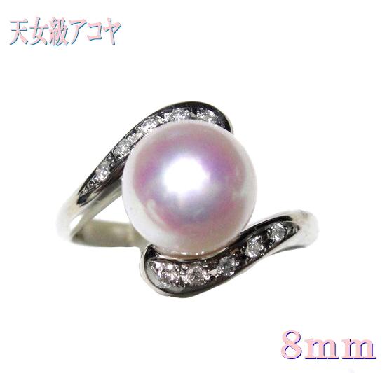【限定】花珠天女級8.3mmUP幅!アコヤ本真珠Pt計0.10ctダイヤ&パールリング【オーロラ,あこや真珠,和珠,本真珠】