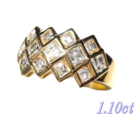 【限定】スクエアエメラルドカットK18YG計1.10ctダイヤモンドリング