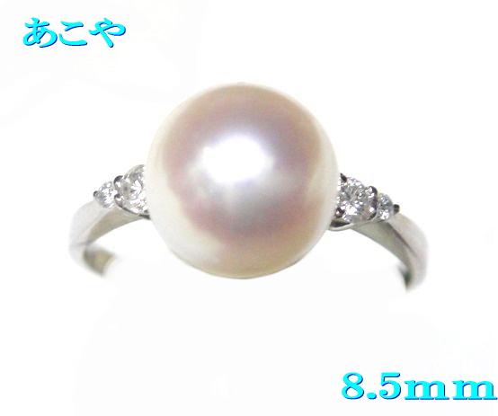【限定】サイズ大きめ!8.5mmUPアコヤ本真珠Pt計0.10ctダイヤ&パールリング【あこや真珠,和珠,本真珠】【R】