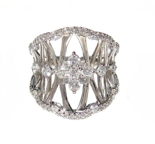 【予約】幅広アート!輝くPt計1.00ctダイヤモンドリング