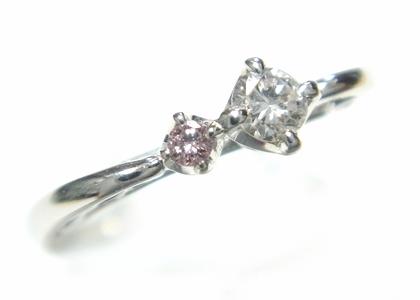 【予約】デザインおしゃれな立体アンティーク調計0.12ctピンクダイヤ&ダイヤリング
