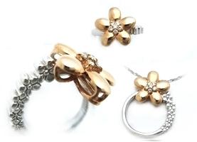 【予約】【2WAY】花型ダイヤモンドピンクゴールドペンダントorピンキーリング