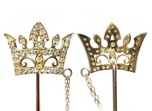 【予約/在庫】【楽天ランキング2位】新色追加!メンズにオススメチェーン付属ラペルピン王冠型計0.24ctダイヤモンドピンブローチ