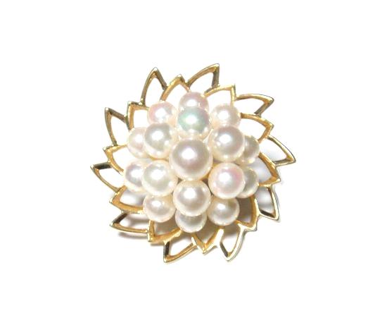 【限定1個】立体造形!フラワーデザインアコヤK18YGパールピンブローチ【真珠,あこや】