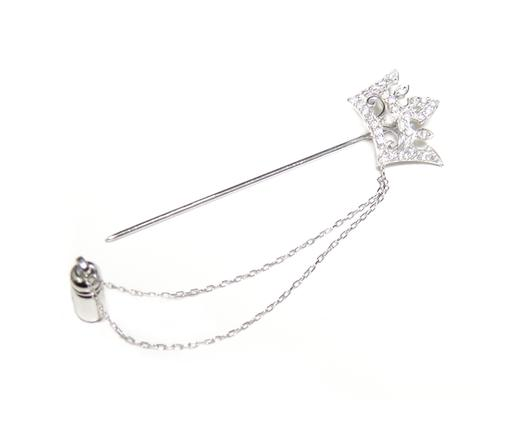 Add a new color! In the men's recommended chain comes with lapel pin  Crown-shaped meter 0 24 ct diamond pin brooch
