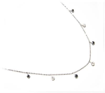 【予約】【ランキング1位】ブラック&ホワイトコンビ計0.50ctブラックダイヤモンド&ダイヤネックレス【デイリー,ネックレス-ホワイトゴールド(5/27)】