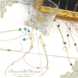 2-カットストーンロングネックレス ◆ necklace, long necklace, cut stone, 2, women's /Sweet &Sheep