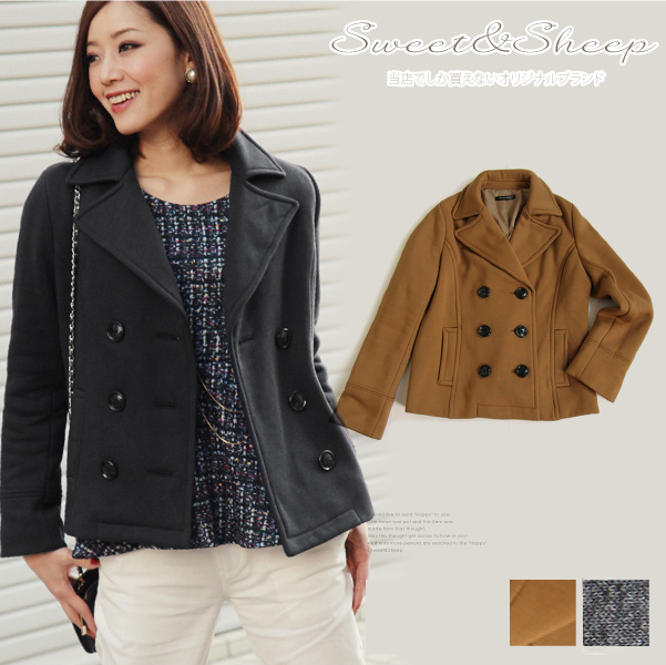 Outer きれいめ easy material coat Lady's Sweet & Sheep ◆ pea coat