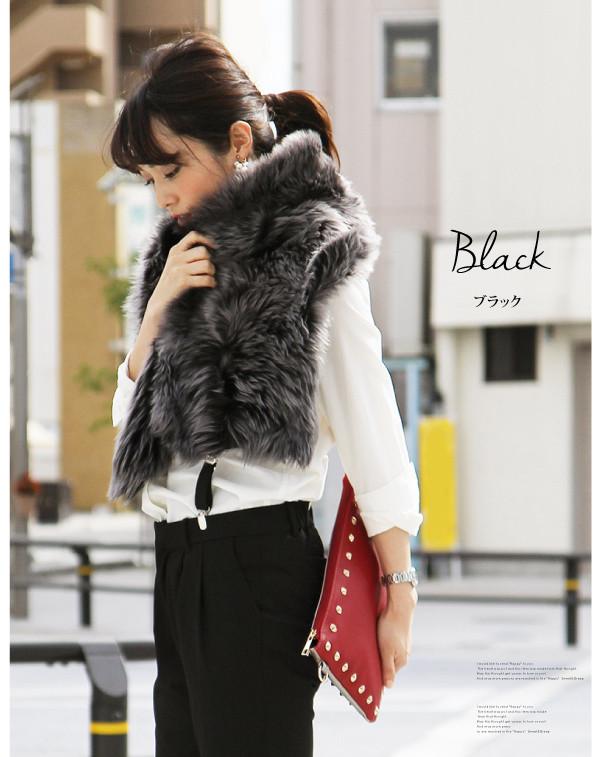 ★ Mouton stole Mouton stole ボタンシュラッグ ムートンシュラッグ stole scarf reversible women's Sweet &Sheep original ◆ lambskin shrug