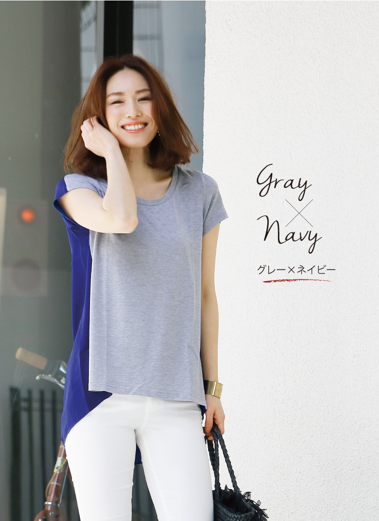 Women's tops Nudie short sleeve T shirt sewn sheer a-line round neckline women's Sweet &Sheep select RITA ◆ solid color bicolor tack into short sleeve sheer tops