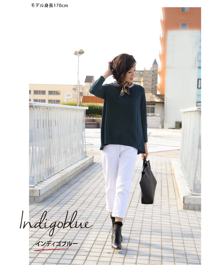 T shirt and three-quarter sleeves and made in Japan /made in Japan, white black, tunic, women's / Sweet &Sheep Pocket flare t-shirt with ◆
