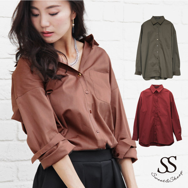 35a9a451930884 Shirt long sleeves plain fabric blouse Shin pull basic adult big shirt  wearing a kimono with ...