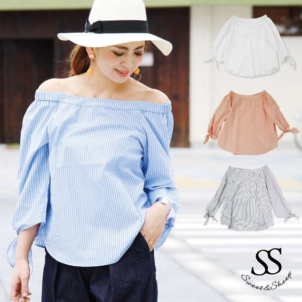 80429c46a41 Show a sleeve shoulder in the bloom of off shoulder blouse tops stripe  shirt 2WAY plain ...