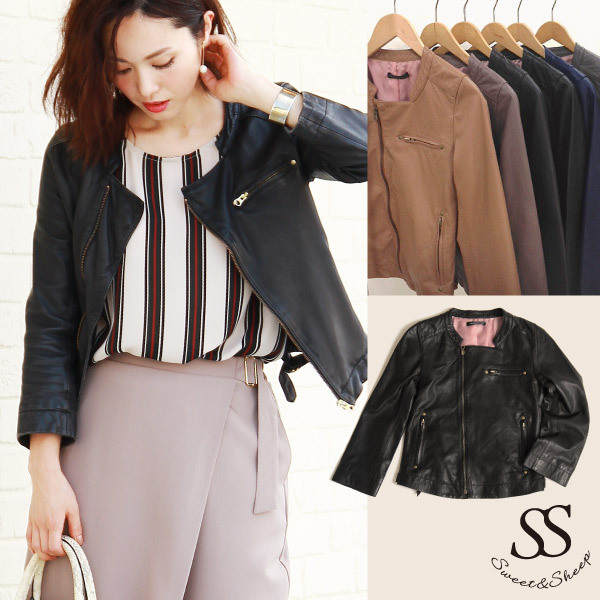 Leather jacket no color leather camel lambskin outer black camel Rakuten ranking continuously awarded ★ no color leather jacket