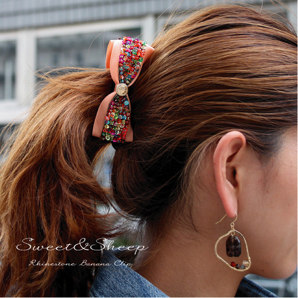 Ribbon banana clip with banana clip adult feminine lady's lye Thayer habit Surrey ◆ spangles beads having a cute hair slide ヘアアクセ shiningly