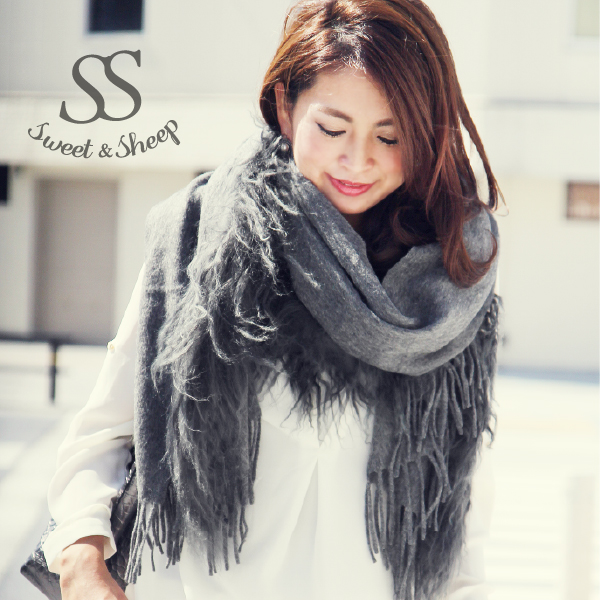 Fur stole fur scarf fur shawl genuine Mongolian wool sheep large wool ladies Sweet &Sheep original ◆ fur shawl scarf