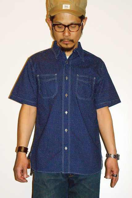 代引手数料・送料無料 SUGAR CANE (シュガーケーン) 4.5ozポルカドット・半袖ワークシャツ SC36670 ネイビー・ワンウォッシュ 東洋エンタープライズ