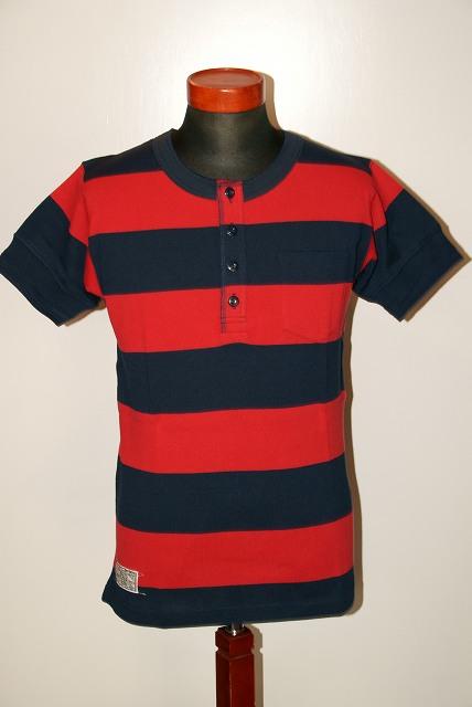 代引手数料・送料無料 Dapper's (ダッパーズ) ヘンリーネック・半袖ボーダーTシャツ 1183