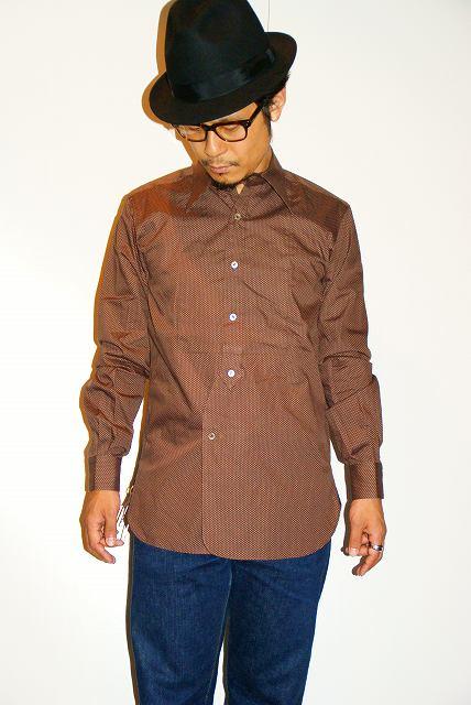 代引手数料・送料無料 ADJUSTABLE COSTUME (アジャスタブルコスチューム) ロングポイントカラー・クラシックシャツ AS-038 ブラウン