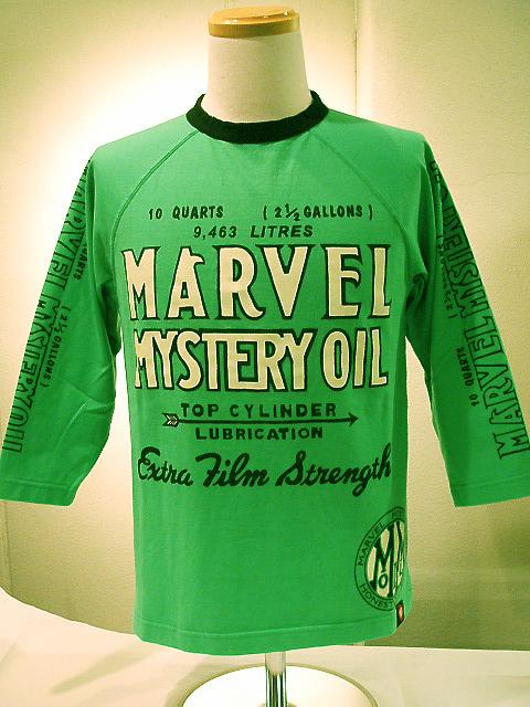 代引手数料・送料無料 MWS (エムダブルエス) MARVEL MYSTERY RAGULAN SLEEVE-T 109700 スカッシュグリーン×ブラック 7分袖Tシャツ ボルビック製