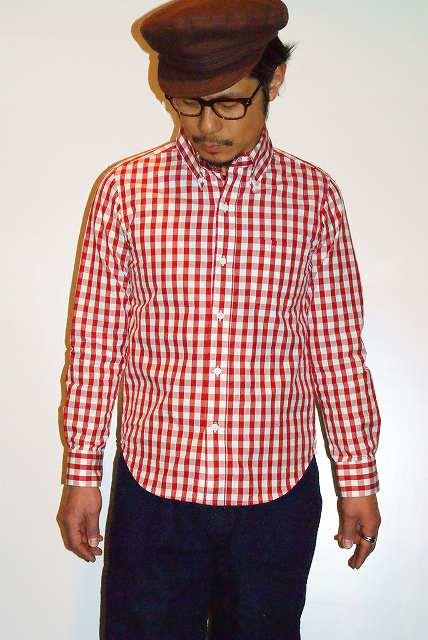 代引手数料・送料無料 UES (ウエス) コードギンガムチェック・ボタンダウンシャツ 501405 レッド