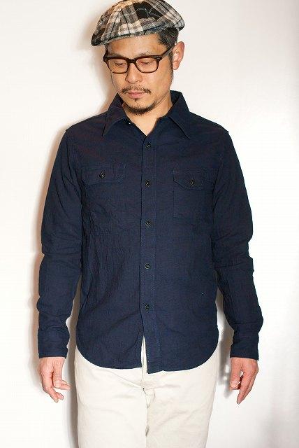 代引手数料・送料無料 UES (ウエス) インディゴドビーシャツ 501603 インディゴネイビー