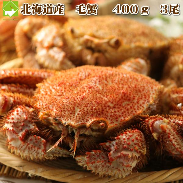 北海道産 毛蟹 400g 3尾入り送料無料
