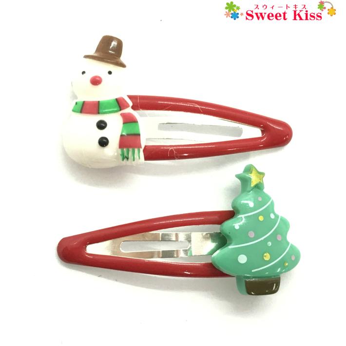 冬 クリスマス Xマス 定番のヘアアクセサリー KHCP スノーマン ツリー パッチンどめ ヘアクリップ (2コ) クリスマス コスプレ 雪だるま クリスマスツリー   パッチン留め ぱっちんどめ パッチンピン スリーピン ヘアピン ヘアアクセサリー 髪飾り キッズ 子供 こども かわいい 可愛い おしゃれ 全品 送料無料 実施中