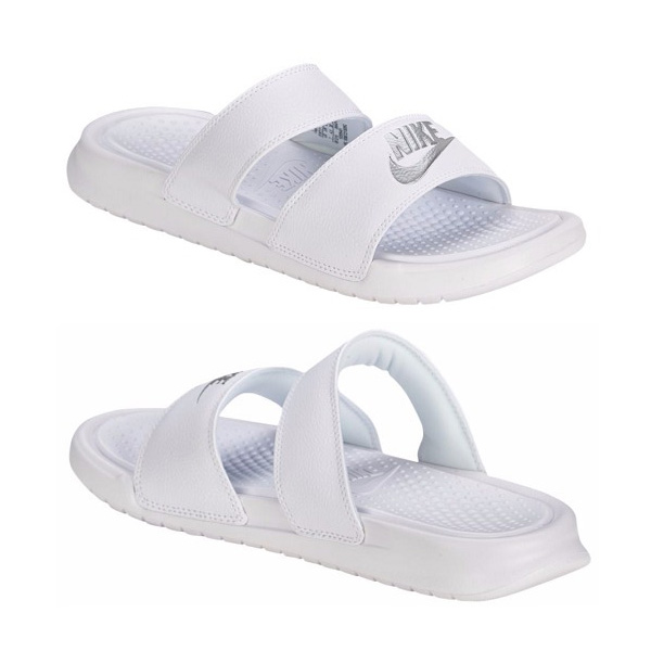 04c5dfbfba66f9 ... sweden nike nike sandals womens benassi white silver duo ultra slide  nike womens benassi duo ultra