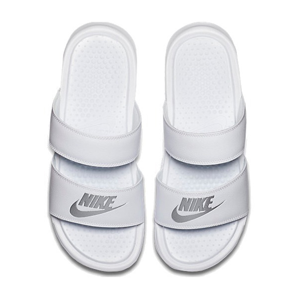 c3e8473b1877 NIKE Nike Sandals Womens Benassi white silver Duo Ultra slide Nike Women s  Benassi Duo Ultra Slide White Metallic Silver 02P05Nov16