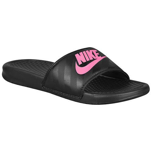 (取寄)NIKE ナイキ レディース サンダル ベナッシ JDI スライド Nike Women's Benassi JDI Slide Black Vivid Pink 【コンビニ受取対応商品】