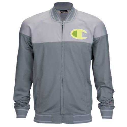 (取寄)チャンピオン メンズ ビッグ ロゴ トラック ジャケット Champion Men's Big Logo Track Jacket Concrete Grey Silverstone Volt Yellow