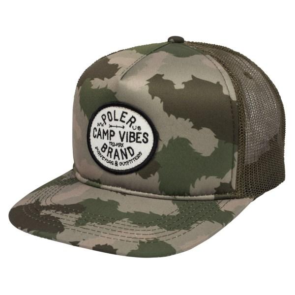 42836318063 POLeR polar cap camo camping vibes brand mesh cap POLeR Camp Vibes Brand Trucker  Hat Green Furry Camo