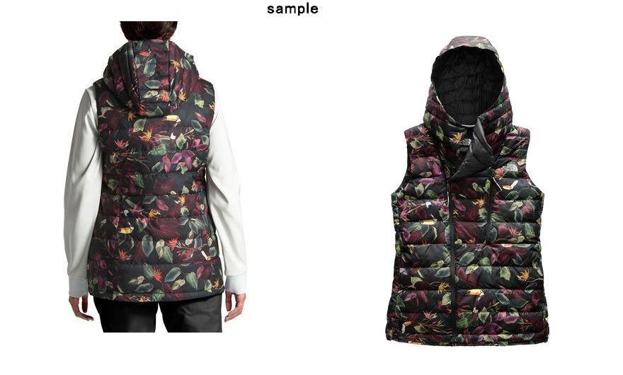 2cca2f816de4 (order) North Face Lady s niche hooded down vest The North Face Women Niche  Hooded Down Vest Tnf Black Toucan Print