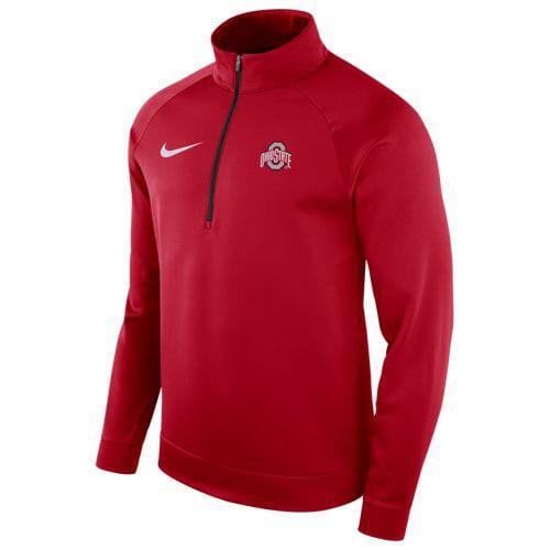(取寄)ナイキ メンズ トレーニングウェア カレッジ サーマ ロングスリーブ 1/2 ジップ トップ オハイオ ステイト バックアイズ Nike Men's College Therma L/S 1/2 Zip Top オハイオ ステイト バックアイズ Red