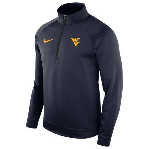 (取寄)ナイキ メンズ トレーニングウェア カレッジ サーマ ロングスリーブ 1/2 ジップ トップ ウェスト バージニア マウンテイ二アーズ Nike Men's College Therma L/S 1/2 Zip Top ウェスト バージニア マウンテイ二アーズ Navy