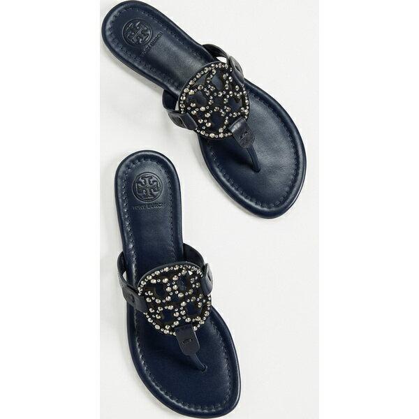 70a566206d9f6 (order) トリーバーチレディースミラーエンベリッシュトングサンダル Tory Burch Women s Miller Embellished  Thong Sandals RoyalNavy