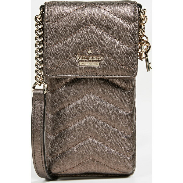 (取寄)ケイトスペード キルテッド ノース サウス フォン クロスボディ バッグ Kate Spade New York Quilted North South Phone Crossbody Bag AshMetallic
