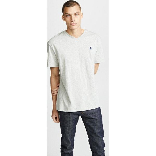 (取寄)ポロ ラルフローレン V ネック クラシック フィット ティー シャツ Polo Ralph Lauren V Neck Classic Fit Tee Shirt GreyHeather