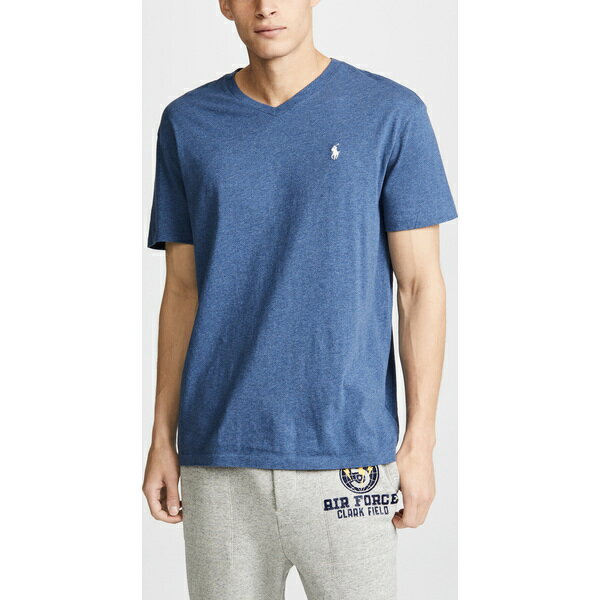 (取寄)ポロ ラルフローレン V ネック クラシック フィット ティー シャツ Polo Ralph Lauren V Neck Classic Fit Tee Shirt DerbyBlueHeather