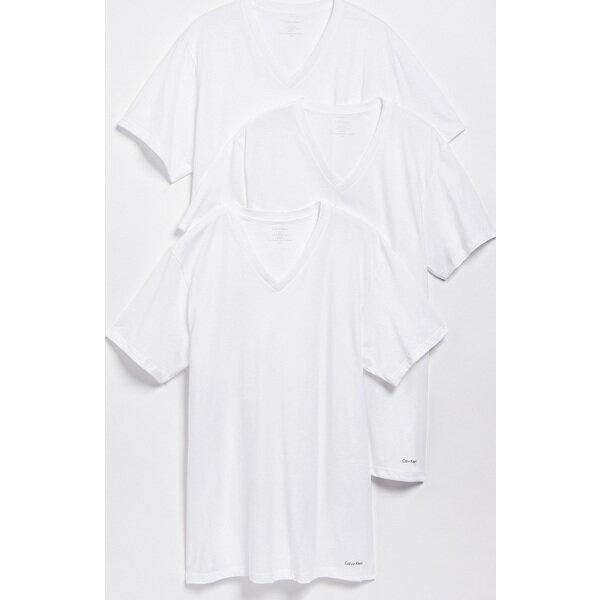 (取寄)カルバンクライン アンダーウェア メンズ 3 パック コットン クラシック Vネック Tシャツ Calvin Klein Underwear Men's 3 Pack Cotton Classic V-Neck T-Shirts White