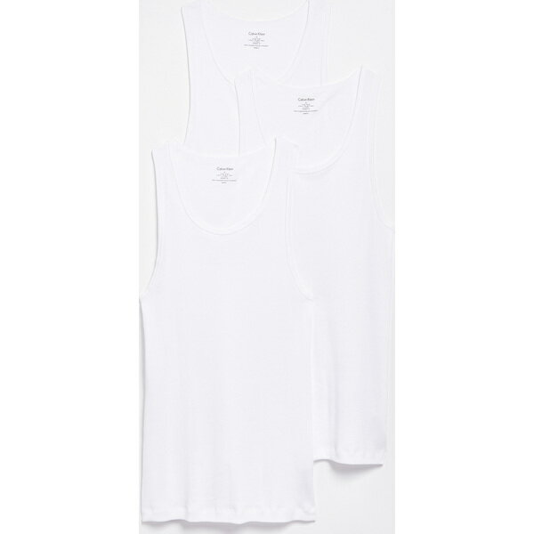 (取寄)カルバンクライン アンダーウェア メンズ コットン クラシック 3 パック リブド タンク Calvin Klein Underwear Men's Cotton Classic 3 Pack Ribbed Tanks White