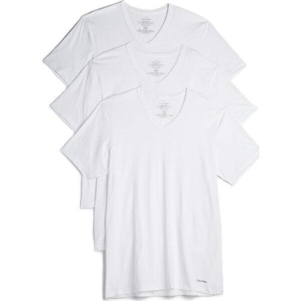 (取寄)カルバンクライン アンダーウェア メンズ 3 パック コットン クラシック V ネック ティー Calvin Klein Underwear Men's 3 Pack Cotton Classic V Neck Tees White