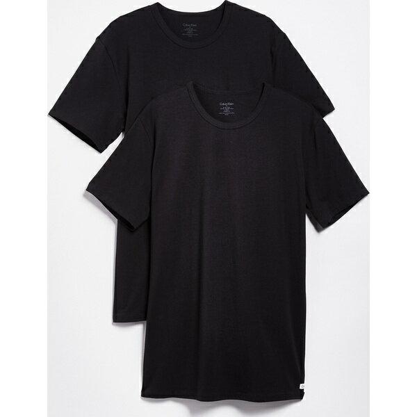 (取寄)カルバンクライン アンダーウェア メンズ 2 パック コットン ストレッチ クルー ネック ティー Calvin Klein Underwear Men's 2 Pack Cotton Stretch Crew Neck Tee Black