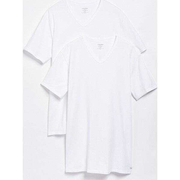 (取寄)カルバンクライン アンダーウェア メンズ 2 パック コットン ストレッチ V ネック ティー Calvin Klein Underwear Men's 2 Pack Cotton Stretch V Neck Tee White