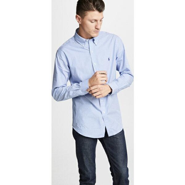 【エントリーでポイント10倍】(取寄)ポロ ラルフローレン スリム ストレッチ ポプリン シャツ Polo Ralph Lauren Slim Stretch Poplin Shirt BlueWhite
