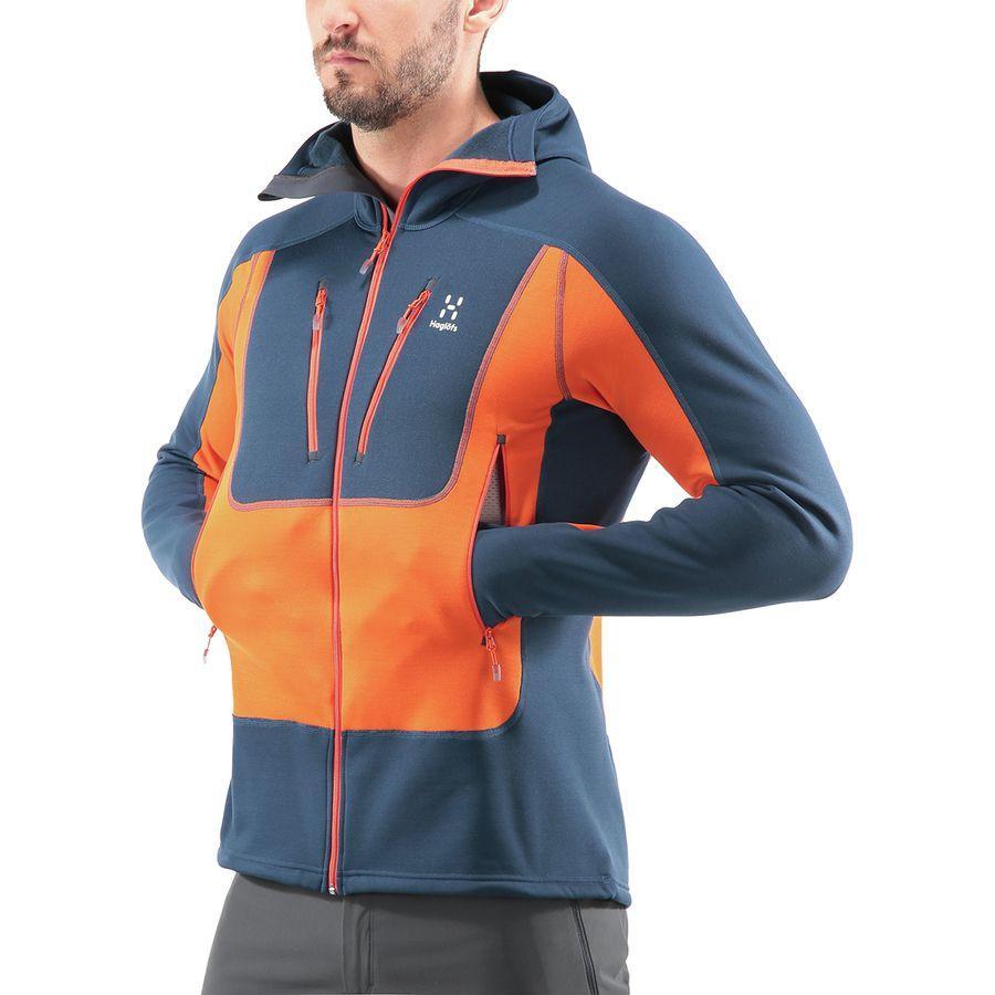 (取寄)ホグロフス メンズ セラック フーデッド フリース ジャケット Haglofs Men's Serac Hooded Fleece Jacket Tarn Blue/Cayenne