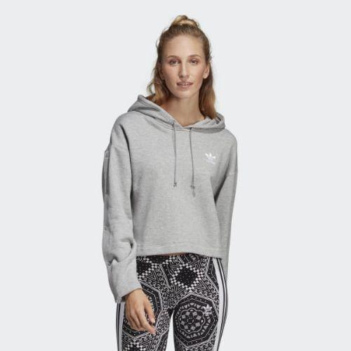 (取寄)アディダス オリジナルス レディース クロップド パーカー adidas originals Women Cropped Hoodie Medium Grey Heather