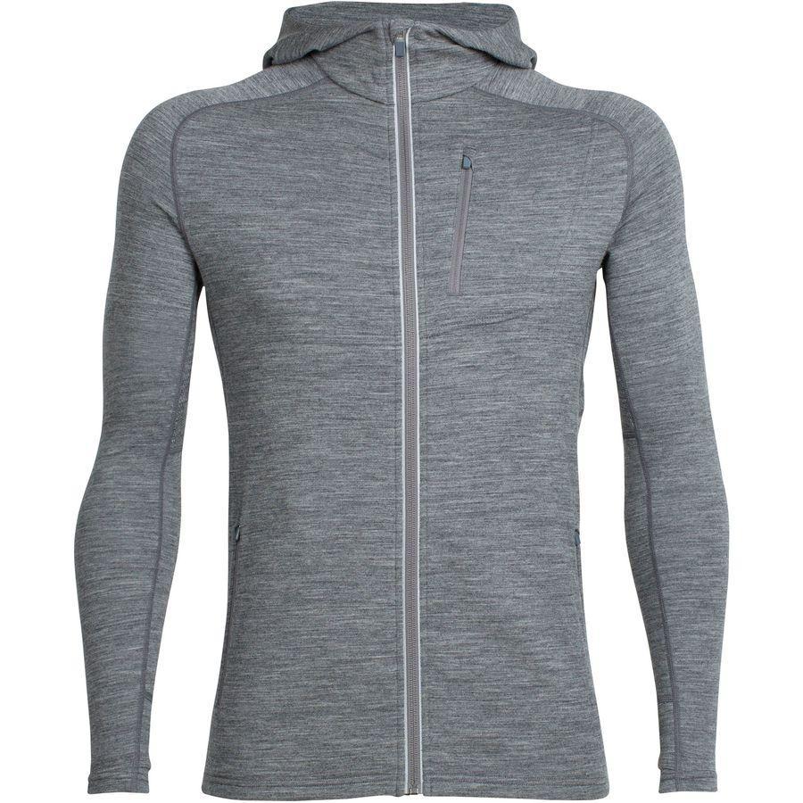 (取寄)アイスブレーカー メンズ クァンタム フーデッド フルジップ シャツ Icebreaker Men's Quantum Hooded Full-Zip Shirt Gritstone Heather1