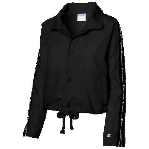 (取寄)チャンピオン レディース テープド クロップド コーチ ジャケット Champion Women's Taped Cropped Coaches Jacket Black